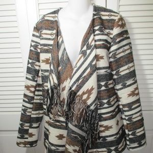 Me Jane Fringe Draped Aztec Open Cardigan L